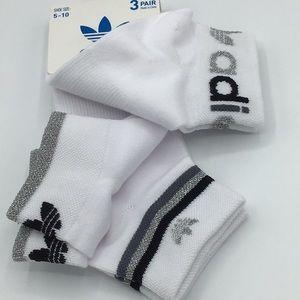 adidas 3 pack metallic ankle socks